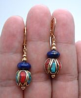 Dangling Handmade Nepal Blue Lapis Lazuli Gold Earrings A0507