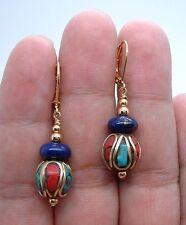 Dangling Handmade Nepal Blue Lapis Lazuli Gold Earrings A0507