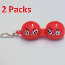 2 Packs Cute Red Mad Birds Contact-Lens Holder Case Great for Traveling w/ Chain