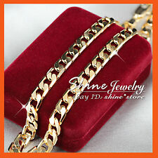 18K YELLOW GOLD GF N34 60CM FLAT RING CURB CHAIN WOMEN MENS SOLID CHARM NECKLACE