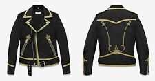 SAINT LAURENT MENS GOLD EMBROIDERED OFFICER MOTORCYCLE BIKER LEATHER JACKET