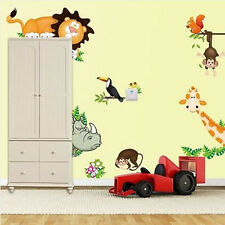 Jungle Monkey Lion Animals Tree Wall Decals Removable Sticker Kids Nursery