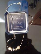 Collana girocollo gioiello argento 925 perle e strass