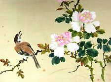 CHINESE BIRD ON CHERRY  BRANCH WITH BLOSSOMS W/COL ON SILK 20THC