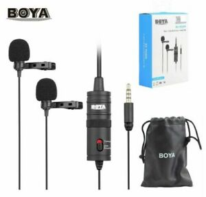 BOYA BY-M1DM Dual-Head Lavalier Microphone for DSLR Camera Smartphone PC Mic