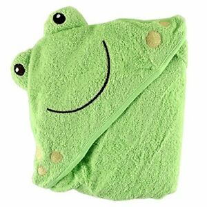 Luvable Friends Unisex Baby Cotton Animal Face Hooded Towel Frog One Size