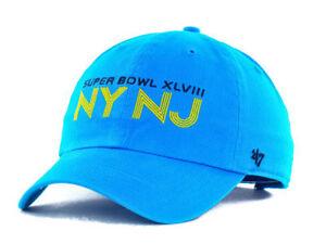 Super Bowl XLVIII 48 NY NJ NFL Clean Up Adjustable Seahawks Broncos Hat Cap Blue