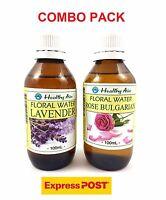 2 x 100ml Pack ~ ROSE BULGARIAN + LAVENDER ~ Floral Water NATURAL Hydrosol TONER
