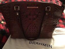 Brahmin Paris Pecan Croc Leather Tote Business Bag Melbourne Croc Embossed