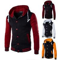 Fashion Mens Button Hoodie Sweatshirt Jacket Casual Loose Tops Outwear