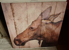 LARGE MOMMA MOOSE PHOTO CANVAS PRINT SIGN Rustic Cabin Lodge Wall Home Decor NEW