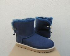 UGG NAVY BLUE SELENE NAUTICAL BAILEY BOW SHEEPSKIN BOOTS, US 11/ EUR 42 ~NIB