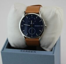 NEW AUTHENTIC SKAGEN HOLST SILVER BLUE BROWN LEATHER MEN'S SKW6369 WATCH