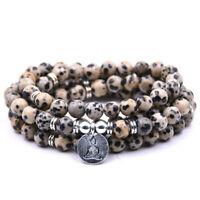 6mm Spotted Stone 108 Beads Buddha Pendant Bracelet Reiki cuff Wrist