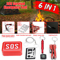 6 in 1 Outdoor Survival First Aid Tool Hiking Camping Rescue Gear Emergency Kit