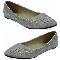 Ladies Flat Pumps Slip On Ballet Ballerina Dolly Sequins Shoes Silver Grey