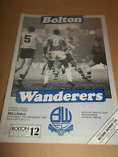 BOLTON WANDERERS V MILWALL 1984 FOOTBALL LEAGUE DIVISION 3 PROGRAMME