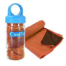 TUFF LUV Microfibre Sports Cooling Gym Towel - UPF 50 & Sports Bottle - Orange