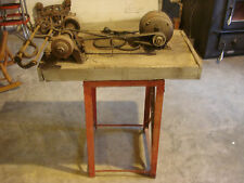 Antique Apex 1/4 HP Motor Belt Drive Bench Grinder Tool Rest Arbor