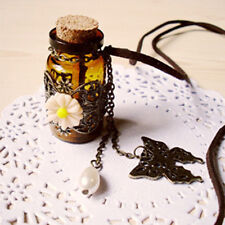 Wish Bottle Flower Butterfly Pendant Leather Long Sweater Chain Necklace Gift