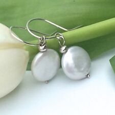 Coin Pearl Earrings with Thai Silver Bead and Sterling Silver Hooks Handmade