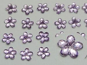 1000 Purple Acrylic Flatback Faceted Flower Rhinestone Gems 6mm