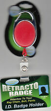 """Retracto ID Badge Holder, Red, 26"""" Cord, New"""