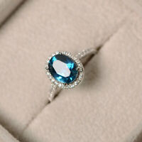 3Ct Oval Cut London Blue Topaz Diamond Halo Engagement Ring 14K White Gold Over