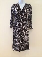 Calvin Klein Black & White Print Belted 3/4 Sleeve Dress  Size 8