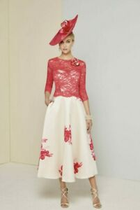 NEW Ronald Joyce 29354 Size 10 12 Pink Cream Floral Dress Lace Mother of Bride