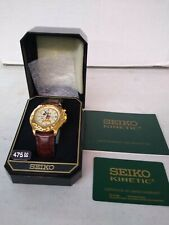 Seiko Kinetic leather Mickey Watch New Old Stock w box papers vintage 5M42-0C19