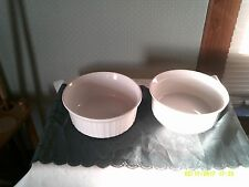 Corning Ware french white ribbed casserole/ souffle dishes pair of 2