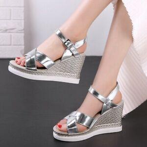 Women's Platform Wedge Heels Sandals Open Toe Ankle Strap Slingbacks Party Shoes