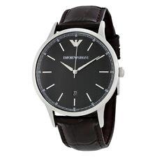 Emporio Armani Dress Black Dial Leather Mens Dress Watch AR2480