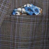 Mens Premium Blue Floral italian Style Silk Pocket Square / Handkerchief