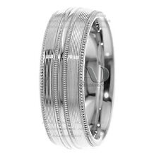 7.5mm Pinstriped Pattern With Milgrain Edges 14K Gold Wedding Band Ring