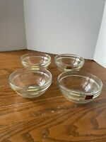 """Rare SET OF 4 SMALL PREP CLEAR GLASS ARCOROC VINTAGE 4"""" BOWLS FRANCE New"""