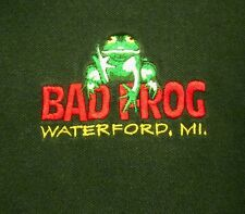 BAD FROG BEER polo shirt XL Waterford logo Michigan controversial ale 1990s sewn