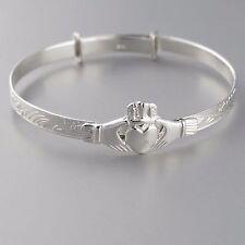 Irish Claddagh Adjustable Baby Bangle Bracelet - 925 Sterling Silver - Gift NEW