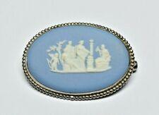 Wedgwood Made In England Blue Jasperware Brooch / Pin In Silver Frame Hallmarked
