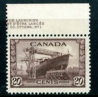 Canada 1942 Pictorial 20¢ Shipbuilding Scott #260 Mint D955