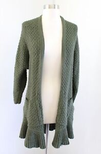 Guinevere Anthropologie Olive Green Ruffle Flounce Crochet Cardigan Sweater Sz S