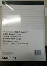 12 Writing Pads, Letter Sized Legal Ruled 50 Sheet/pads 8-1/2