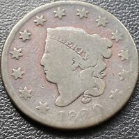 1820 Large Cent Coronet Head One Cent 1c Circulated #28984