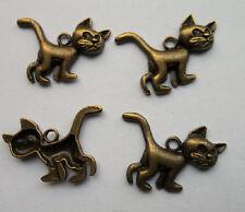 15 pcs bronze plated cat charm pendant 21 x 29 mm
