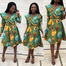 Women African print veroex long sleeve wrapping Party Sundress