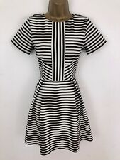 Warehouse Skater Dress Black Striped Textured Fit Flare Short Sleeve Size 10/12