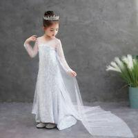 Child Girls Elsa Dress Princess White Sequins Cosplay Birthday Party Christmas