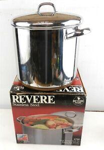 Vtg Revere Ware 1732 12 Qt Copper Bottom Stock Pot w/Lid & OB USA Made ~VGC~ MS