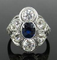 2 CT Blue Round Diamond Art Deco Bezel Set Wedding Ring 14K White Gold FN 925 SS